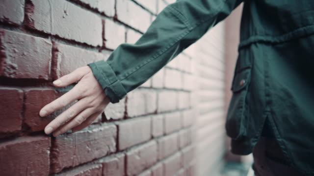 Woman touching wall video