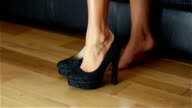 Woman Trying On Stiletto Shoes video