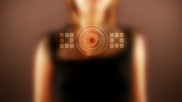 Woman Unlocking Futuristic Computer video