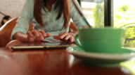 Woman using tablet at coffee shop video