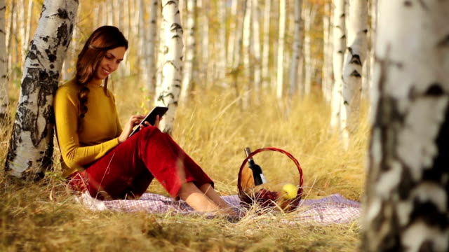 Woman Using Tablet Nature Picnic Basket Technology video