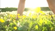 HD SUPER SLOW MO: Woman Walking In Meadow video