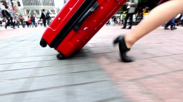 HD: Woman walking in rush hour video