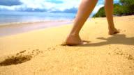 SLO MO Woman Walking On Tropical Beach video
