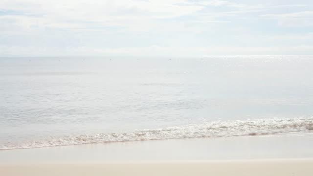 Woman walks alone on tropical white beach video