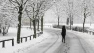Woman walks on the blizzard video