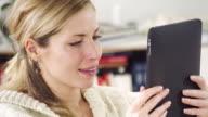 Woman watching photos video
