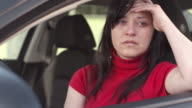 HD: Woman Weeping In A Car video