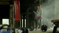 Woman with a dumbbell video