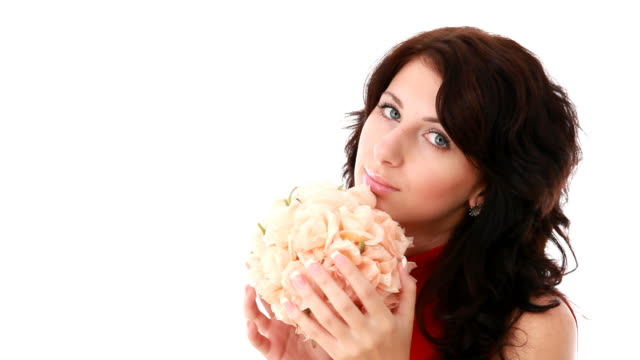 Woman with a flowered sphere video