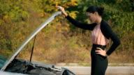 Woman with broken car video