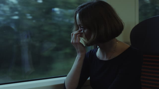 Woman with Common Cold in Moving Train video