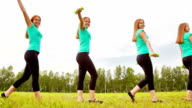 Woman with dumbbells video