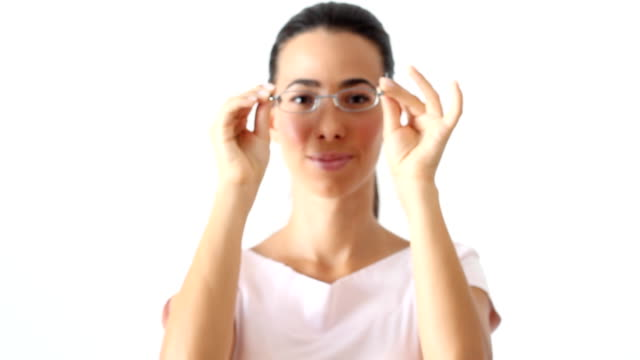 Woman with eyeglasses video