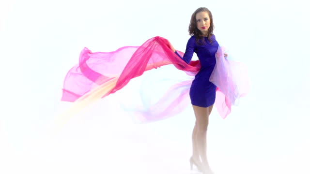 Woman with pink fabric video