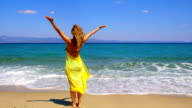 Woman with raised arms on the coast line. video
