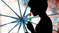 Woman with rose - Silhouette di ragazza con fiore video