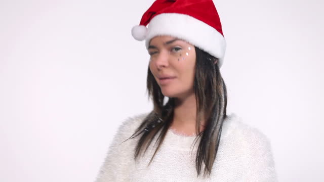 Woman with santa hat video