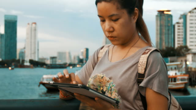 Woman with tablet PC video