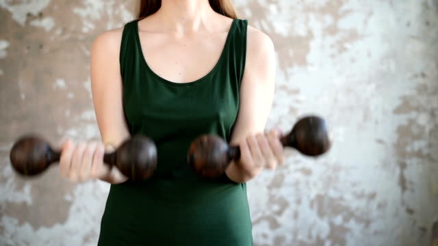 Woman with the dumbbells video