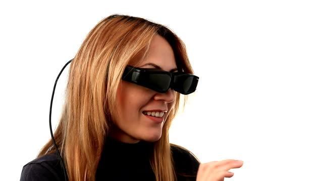 Woman with video eyewear video