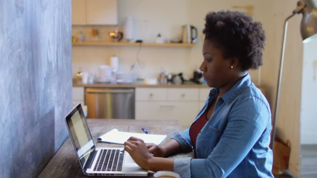 Woman Working at Laptop in Modern Office video