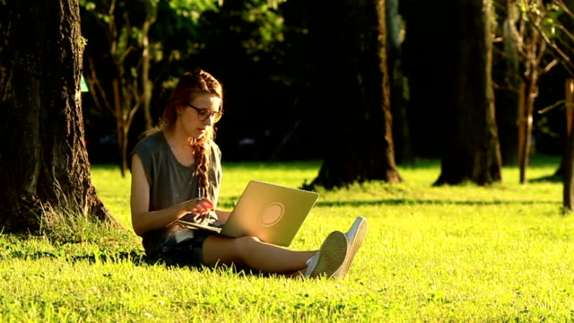 woman working on a laptop while sitting on a green lawn during sunset video