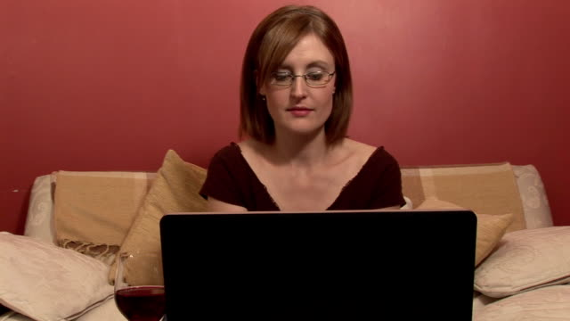 Woman Working on Laptop video