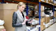 Woman working on-line in the warehouse video