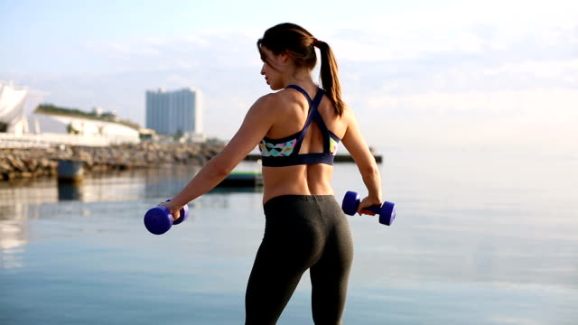 Woman working out video