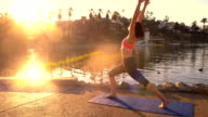 Woman Yoga Park Morning video