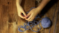 Woman's hands knitting video