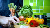 Woman's hands slicing vegetable in kitchen/ activity & lifestyle conceptual video