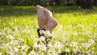DL Woman's legs sticking out of the grass video