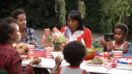 Women and children talking at 4th July family barbecue video
