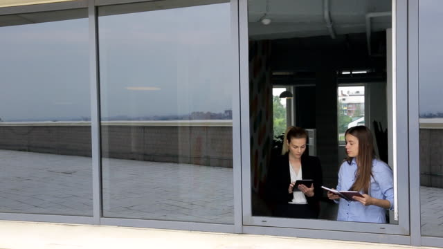 Women are discussing business issues in front of open window video