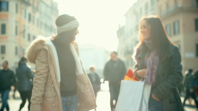 Women chatting and shopping in Rome, Italy video