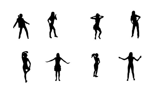 Women dancing. 8 in 1. Alpha matte. video