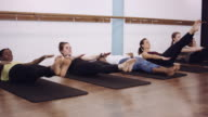 Women doing ab workout in a studio video