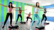 Women Doing Step Aerobics video