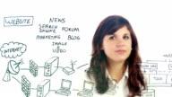 Women drawing computer network video