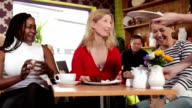Women eating in a cafe video