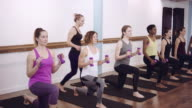 Women exercising with dumbbells video