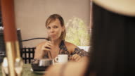Women Friends At Cafeteria Smoking Electronic Cigarette video