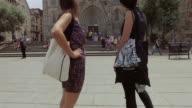 Women friends in Barcelona at summer video