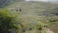 Women hiking in Italian Appennines mountains video