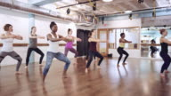 Women in exercise studio video