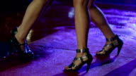 HD: Women in miniskirts are dancing on red carpet video