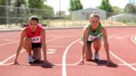 Women runners at starting line video