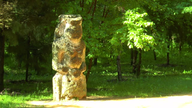 Women Scythian statue in the forest video